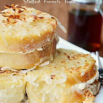 Cream Cheese Stuffed Coconut Crusted French Toast