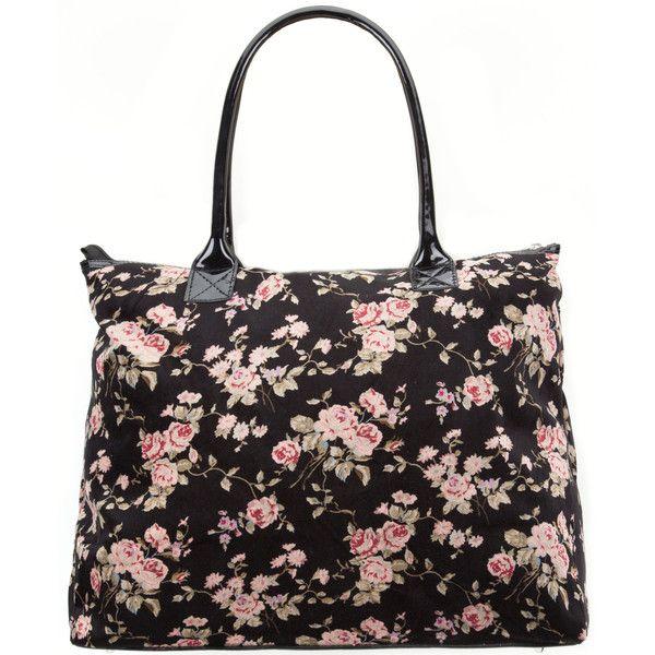 velvet floral tote bag polyvore accessories