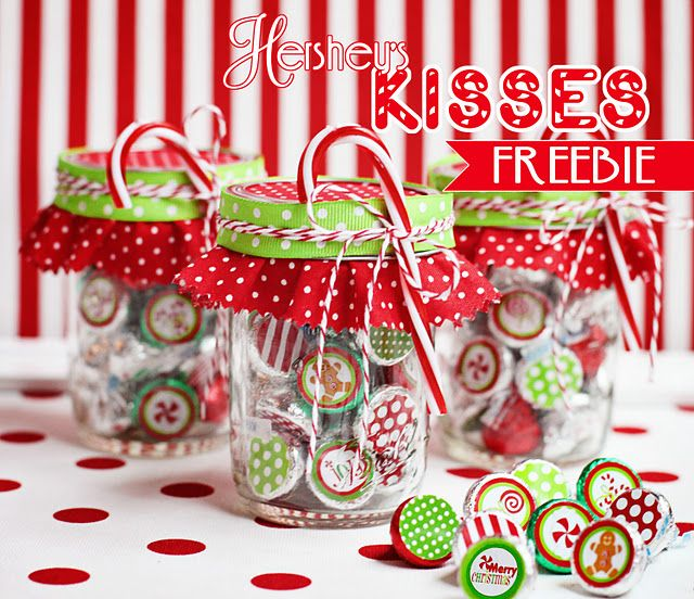 Christmas printables to stick on  Hershey Kisses.  Place kisses in masor jar.  Add pretty material and ribbon and you've got a great Christmas gift.