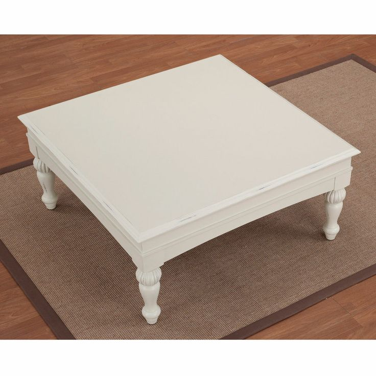 Coffee Table Vanilla White Wood Cocktail Accent Square