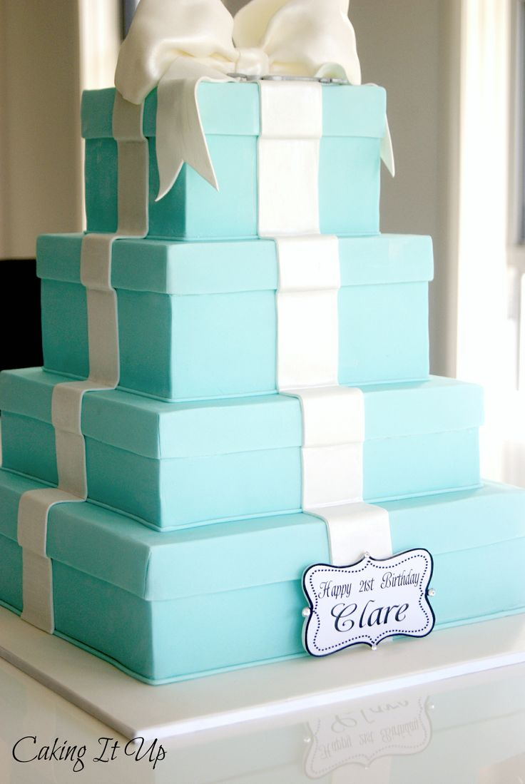4 tier Tiffany & Co, stacked gift boxed with satin finish bow www.facebook.com/cakingitup