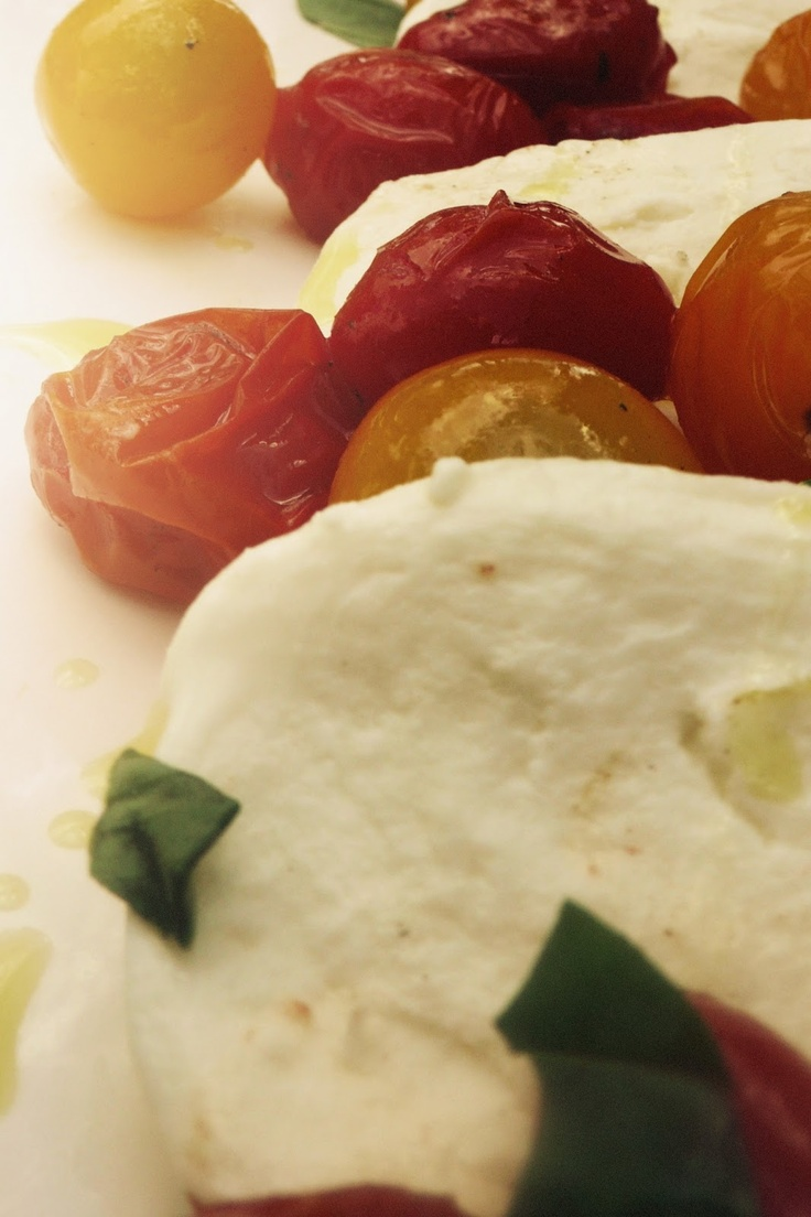 ... fresh mozzarella with them, fresh basil, olive oil and sea salt. It's