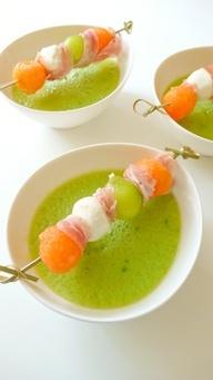 mozzarella, prosciutto di parma, and melon skewers. This cold soup ...