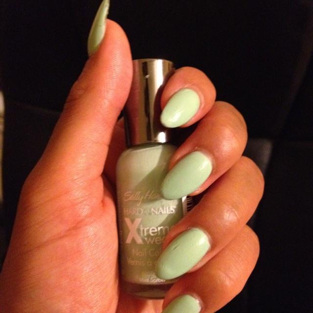 Mint Green Stiletto Nails<3