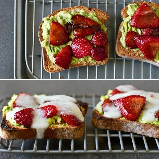 Avocado, Strawberry, and Goat Cheese Sandwich  could taste really good