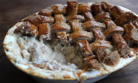 Dan Lepard's Chicken and Bacon Pie with Red Wine and Mustard Crust