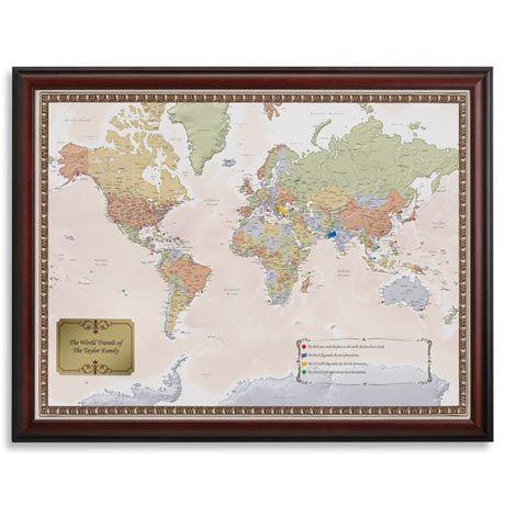 FRAMED PERSONALIZED WORLD TRAVELER MAP 39 Tis a Gift Pinterest