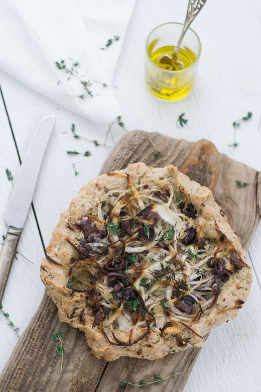 Onion, Black Olive & Thyme Tart, Vegan & Gluten Free