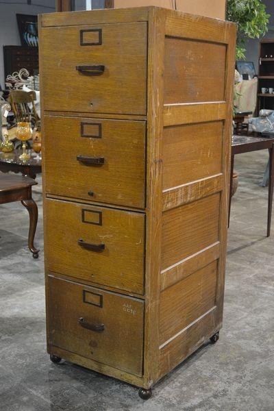 Original Details About ANTIQUE WOODEN 3 DRAWER FILING CABINET. - Antique  Wooden File Cabinet - - Antique Filing Cabinets Wood Antique Furniture