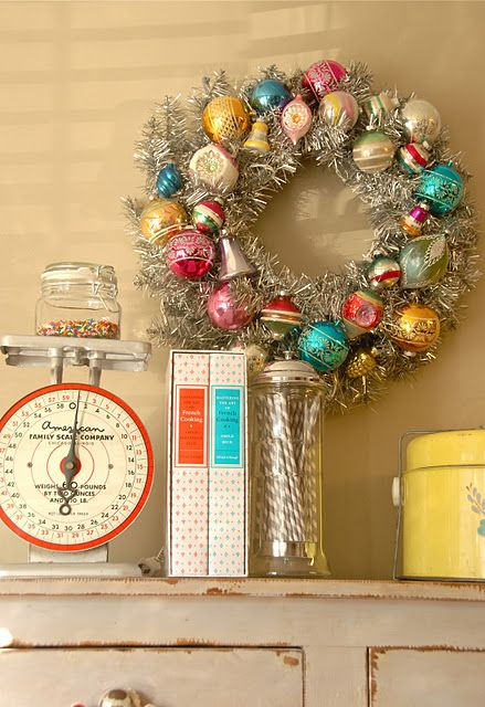 diy vintage ornament wreath @blueeyedyonder.blogspot.com
