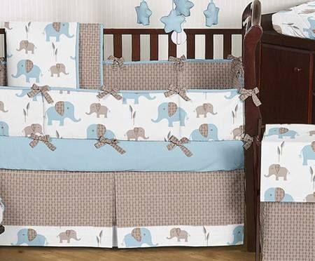 elephant crib bedding boy baby twins room pinterest. Black Bedroom Furniture Sets. Home Design Ideas