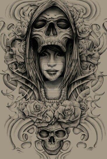 Skull queen tattoo sle...