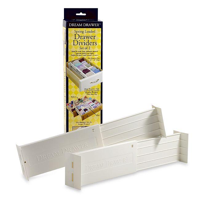 dream drawer expandable spring loaded drawer dividers set of 2. Black Bedroom Furniture Sets. Home Design Ideas