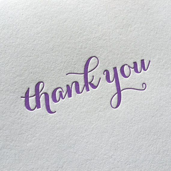 Letterpress Folded Thank You Card Purple Calligraphy Font