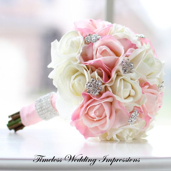 Wedding ideas pink and white with a touch of bling wedding theme pink obre wedding bouquet 12000 by myredrosegarden on etsy mightylinksfo