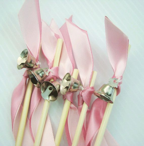 50 wedding wands 2 ribbons bell something blue ribbon for Ribbon wands