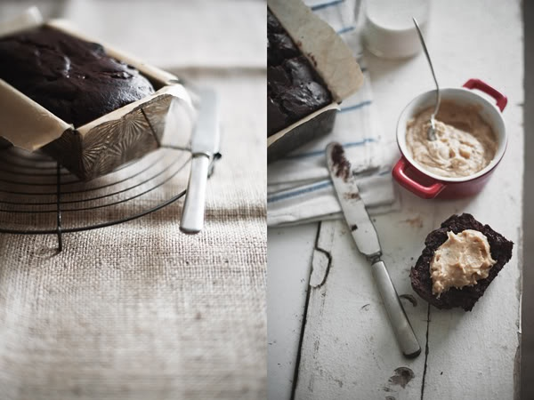 Double-Chocolate Loaf with Peanut Butter Cream Cheese Spread