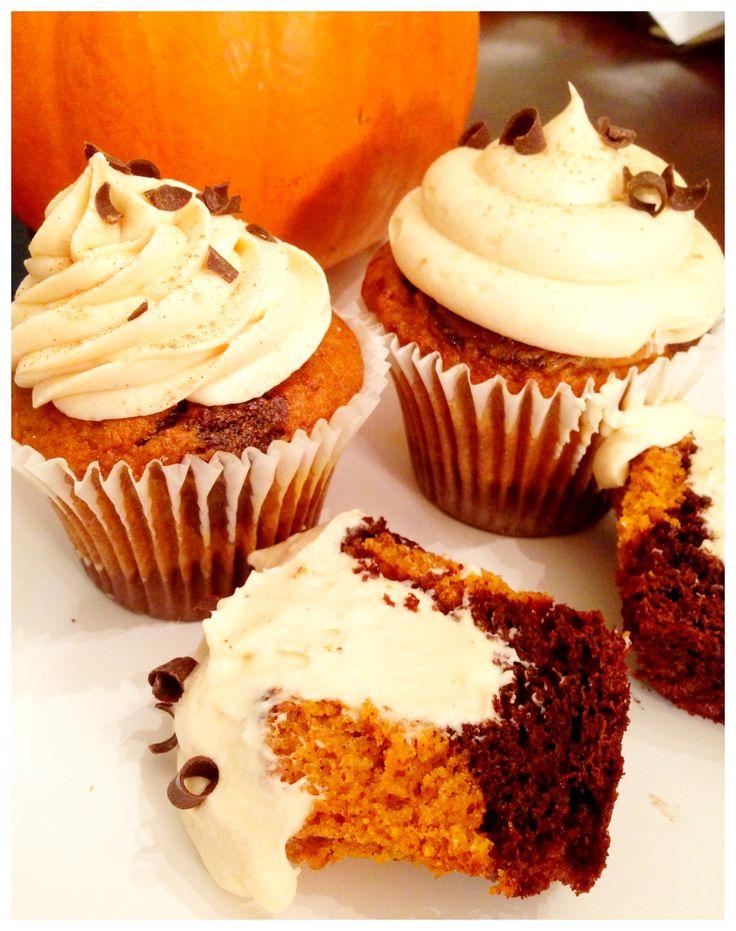 It's fall! Chocolate pumpkin cupcake filled with pumpkin spice ganache ...