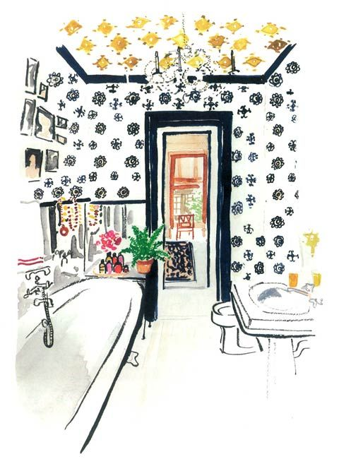 Now this would be an awesome bathroom IRL // love the mix of wall and ceiling prints