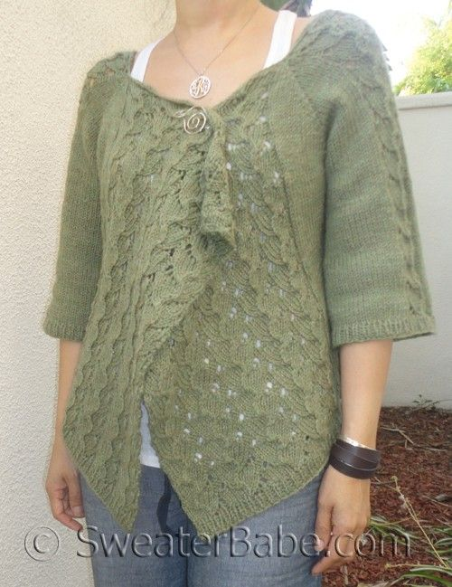 #102 Drape-Front Top-Down Lace Cardigan PDF Knitting Pattern