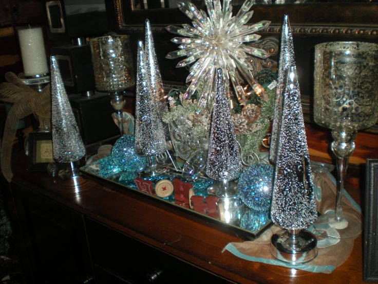 How To Put Double String Lights On A Christmas Tree : My favorite decoration. Added Six silver trees on a mirrored tray. The star decoration in the ...
