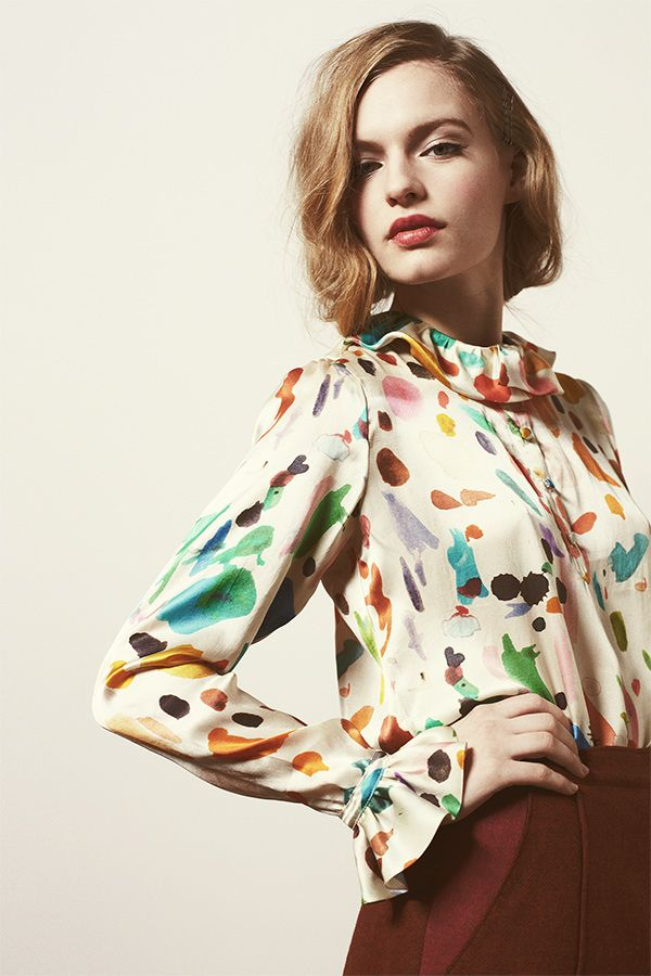 Ink Splat Blouse - paint splodge print; vivid fashion prints; arty fabrics // Samantha Pleet