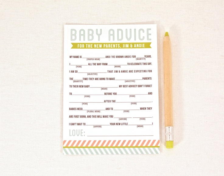 baby shower mad libs baby advice pdf digital diy printable file 15
