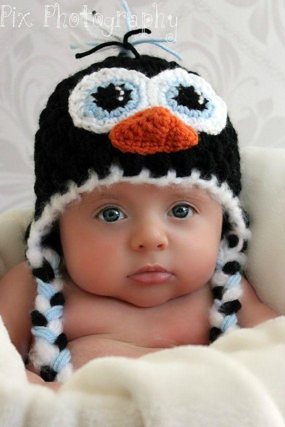 Free Crochet Pattern For Penguin Hat : Penguin Earflap Hat CROCHET PATTERN instant download