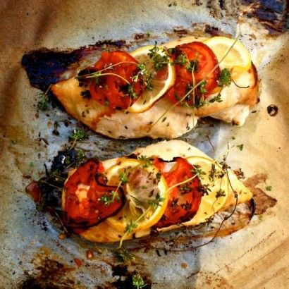 Healthy Lemon, Tomato and Thyme Roasted Chicken Breast | Tasty Kitchen ...