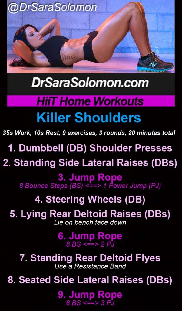 Killer Shoulders HiiT Home Workout    ==> http://www.drsarasolomon.com/killer-shoulders-hiit/   I've got over 60 FREE HiiT Home workouts neatly organized for you on my website at www.drsarasolomon.com.