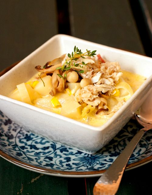 ... Kitchen: Crab and Corn Chowder with Bacon and Sautéed Mushrooms