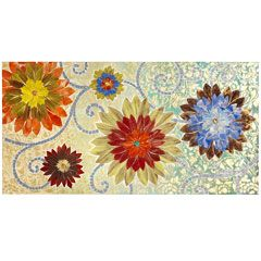 Floral Damask Mosaic Panel