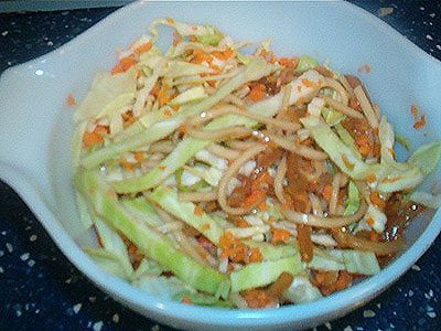 used raw shredded cabbage carrots and noodles and bamboo shoots ...