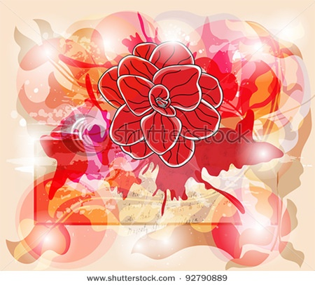 invitation card with vivid colors, big camellia and space for text