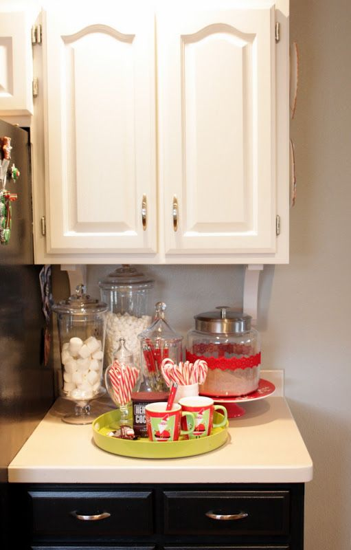Hot chocolate bar during Christmas season..... Just leave it set up the whole time decorations are up!!!