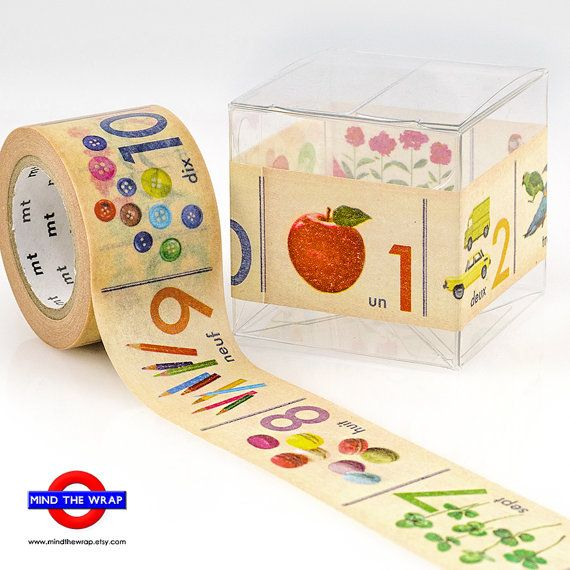 Wide Japanese Washi Tape - 30mm x 10m  - MT ex 'Numbers' - Vintage Style Illustrations - French Numbers Un - Dix