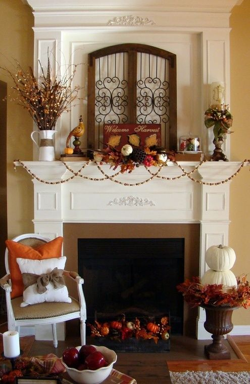 schöne-Herbst-Deko-Ideen-kamin-deko Home Pinterest