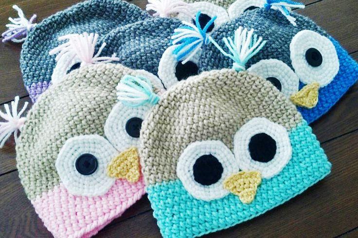 Free Crochet Pattern Owl Beanie : Owl hat crochet pattern. Crochet Pinterest
