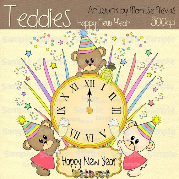 Teddy bear happy new year Nina dolls 0370 digital clip by Withart, $2 ...