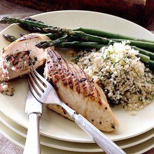 ... red pepper stuffed chicken breasts recipe with lemon basil couscous