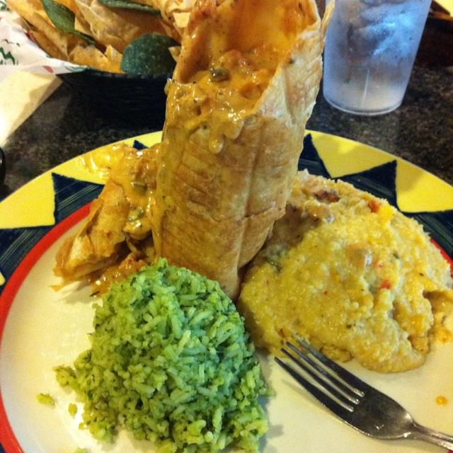 Shrimp & crawfish chimichanga with pablano rice & southwestern grits ...