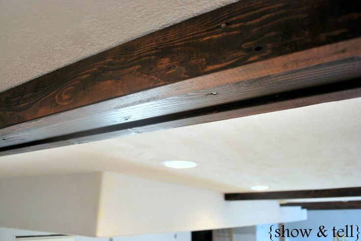 Easy diy faux beams ceiling beams pinterest for Fake wood beams for ceiling