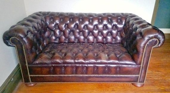 Vintage distressed leather chesterfield sofa mad men for Brown leather couch with studs