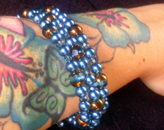 Teal Blue Memory Wire Bracelet by ElementalKarma on Etsy, $28.00