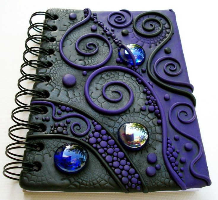 journal cover made of fimo and glass decorative stones