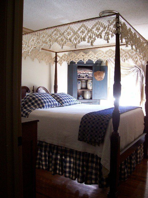 theprimitivestitcher~ primitive colonial 4-post canopy bed hand tied