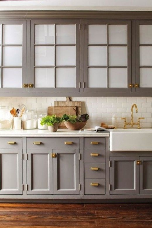 Grey and brass kitchen