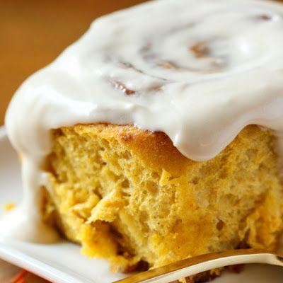 Pumpkin Cinnamon Rolls with Maple Cream Cheese Icing