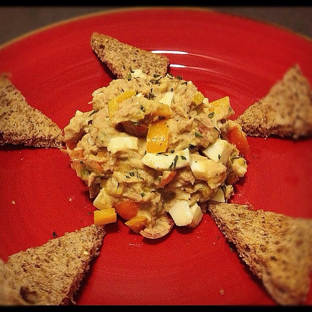mayo-less Tuna salad (should add mustard and the egg yolk)