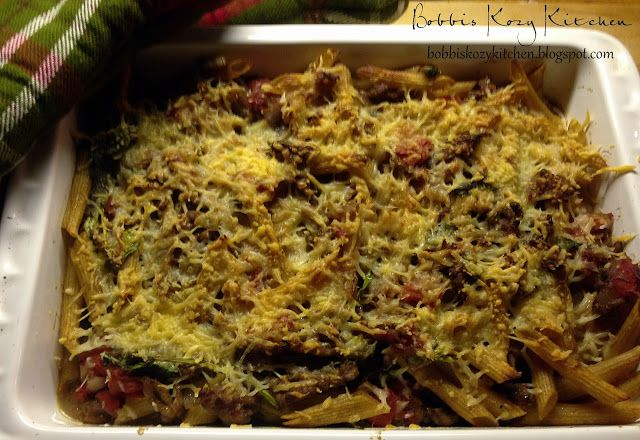 Sausage, Tomato and Spinach Pasta Bake